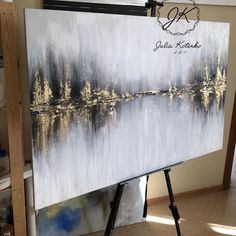 Landscape abstract acrylic painting, gold leaf painting, living room wall art, large original artwork, painting on canvas by Julia Kotenko - Canvas Painting Gold Leaf Art, Painted Leaves, Art Mural, Art Art, Living Room Art, Living Room Paintings, Acrylic Painting Canvas, Diy Canvas, Long Painting