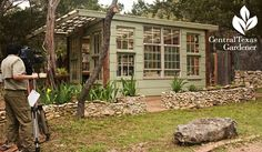 Fabulous greenhouse made with old telephone poles and reycycled salvaged wood, doors and windows! Central Texas Gardeners