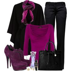 I love this pop of color for my work attire. Purple Outfits, Komplette Outfits, Casual Outfits, Fashion Outfits, Womens Fashion, Mode Rockabilly, Winter Stil, Deep Winter, Look Chic