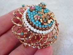 $18 Starting Bid: #Vintage Vendome Rhinestone Bead Pendant Brooch