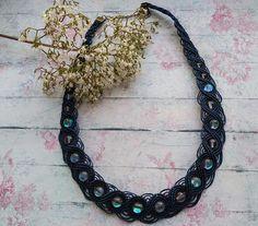 macrame necklace dark navy opalite casual waxed thread