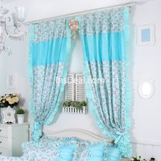 Korean Rose Curtain For Kids Floral Window Curtains Blue Curtain For Bedroom(2 Panels)