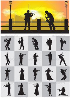 Musician Silhouettes #GraphicRiver This is nice vector silhouettes. In this files include AI and EPS versions. You can open it with Adobe Illustrator CS and other vector supporting applications. I hope you like my design, thanks visit my silhouettes collection graphicriver /collections/3119286-silhouettes Created: 15March13 GraphicsFilesIncluded: TransparentPNG #VectorEPS #AIIllustrator Layered: No MinimumAdobeCSVersion: CS Tags: flute #flutist #girl #icon #instrument #logo #man #music…