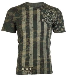 Archaic AFFLICTION Mens T-Shirt AMERICAN USA FLAG Military CAMO Biker M-3XL $45 #Affliction #GraphicTee