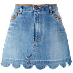 Red Valentino scallop hem denim skirt ($415) ❤ liked on Polyvore featuring skirts, bottoms, denim, saias, blue, knee length denim skirt, scallop edge skirt, scalloped skirt, scallop hem skirt and denim skirt