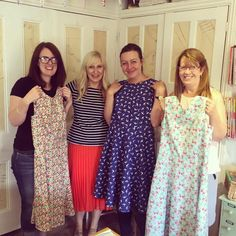 One of our sewing tutors Holly, with her very proud students after completing the 'Make a dress in a Day' workshop. Dressmaking, Needle Felting, Workshop, Students, Paper Crafts, Knitting, Sewing, Crochet, How To Make