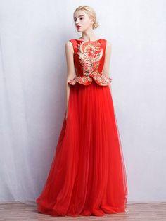 Custom Tailored Boat Neckline Qipao / Cheongsam Dress with Tulle Skirt