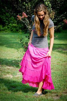Fresh Modesty: Summer Fashions  I love flowy skirts like this.