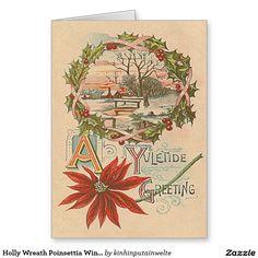 Holly Wreath Poinsettia Winter Cabin Yuletide Greeting Card