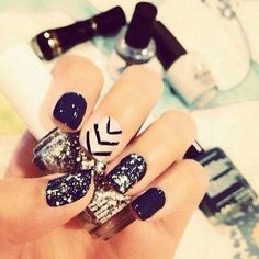 black white silver nails
