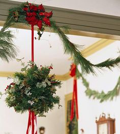 Hang Mistletoe ~~ Kissing under the mistletoe is a fun and festive tradition that is essential for any Christmastime celebration.    Behind the tradition: The ancient Greeks were the first to believe in the power of mistletoe. During Saturnalia, ancient Greeks would kiss under the mistletoe; they later incorporated the act into wedding ceremonies. Custom says if you are kissed under the mistletoe you will have a deep romance or a long-lasting friendship with your kissing partner.
