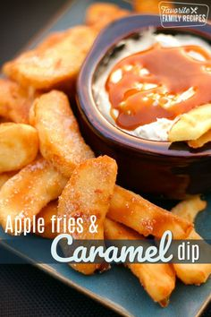 These Apple Fries with Caramel Cream Dip are the perfect warm dessert for a crisp Autumn evening. It made our house smell like apple pie. via These Apple Fries with Caramel Cream Dip are the perfect warm dessert for a crisp Autumn evening. It mad Winter Desserts, Great Desserts, Delicious Desserts, Dessert Recipes, Yummy Food, Caramel Recipes, Fudge Recipes, Apple Recipes, Fall Recipes