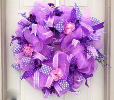 Girls Room Wreath Pink and Purple Wreath by LisasLaurels on Etsy
