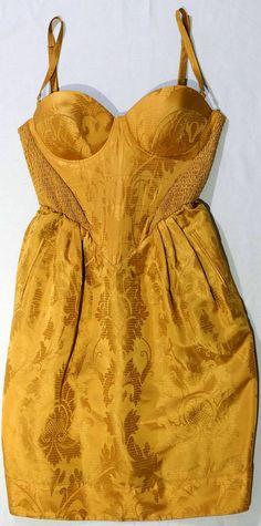 Vivienne Westwood Dress (Pre-owned Red Label Icon Gold Satin Corset Net-a-Porter Designer Dress)