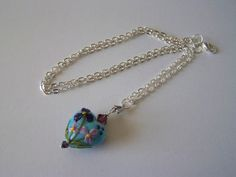 Blue and Purple Lampwork Glass Heart Necklace by LillyBeadsDesigns, $25.00