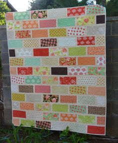 Happy Quilting: The Wall - A Brick Wall Quilt Tutorial Featuring The Jolly Bar!!