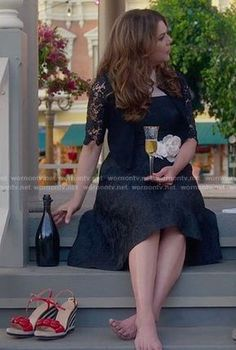 Lorelai's black collared dress and lace cardigan on Gilmore Girls: A Year in the Life