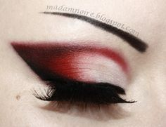 Red eye shadow possibly for Halloween costume