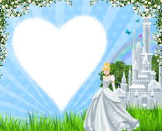 Transparent Kids Frame with Princess Cinderella