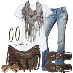 worn jeans with white t shirt & fringed scarf, sandals & matching purse & aviators
