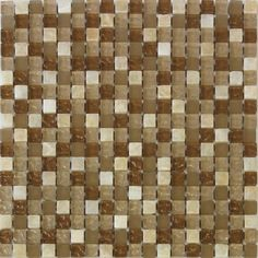 Glossed mixed beige glass mosaic