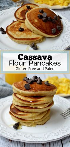 These delicious cassava flour pancakes make the perfect breakfast stack and they're gluten free, grain free and paleo. They're fluffy on the inside and easy to make. Best cassava flour pancakes #pancakes #cassava #cassavaflour #paleo #breakfastideas #glutenfree