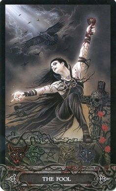 Fool card from the Vampyre Tarot by Ian Daniels