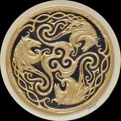 Three Celtic Horses  Cast Paper  triskelion Irish art by Castpaper