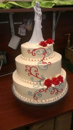 Wedding cake simple and elegant design. Think I'll go without the topper