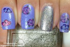 Sassy Paints: JOBY Nail Art Stickers over Rainbow Honey Tessie with Essie Beyond Cozy accent.