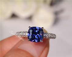 Three rows of diamonds handmade Lab Tanzanite Ring with 925 sterling silver, perfect as engagement ring, birthday or anniversary gift, etc. Main Stone: 7*7mm Lab Tanzanite Accent Stone: 0.5ct CS047