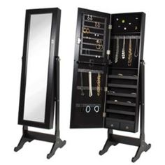 Walmart: Black Mirrored Jewelry Cabinet Amoire w Stand Mirror Rings, Necklaces, Bracelets