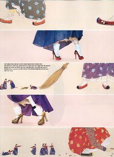 "Vogue Korea August 2012 Issue Editorial: ""Fashion into Art"" Photographer: Kang Hyea Won Stylist: Seo Young Hee Korea Fashion, Asian Fashion, Daily Fashion, Korean Traditional Dress, Traditional Dresses, Korean Dress, Korean Outfits, Modern Hanbok, Oriental Dress"