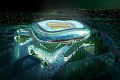 """OGC Nice League: 1959 Cup: 1997 League Cup: 1970 Here are more pics and plans: Name: """"Allianz Nice Stadium"""". Nice, Soccer Stadium, Football Stadiums, Nice Club, Nice Cote D Azur, Ogc Nice, Stadium Architecture, Photovoltaic Cells, Sports"""
