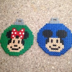 Mickey and Minnie Mouse Christmas baubles  perler beads by letitiagruet