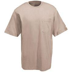 Berne Apparel Men's Tan Ring-Spun Cotton Pocket Tee Shirt BSM16 DS