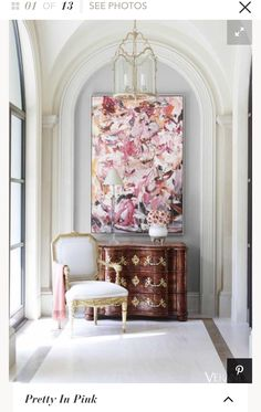Art at Home. Beautiful interior by J. Randall Powers featuring an century French chest, an reproduction chair by century design great Michael Taylor, lantern by Visual Comfort and that gorgeous painting, by I believe is Cecily Brown. Visual Comfort, Texas Mansions, Mansions Homes, Interior Inspiration, Design Inspiration, Morning Inspiration, Daily Inspiration, Sweet Home, Interior Decorating