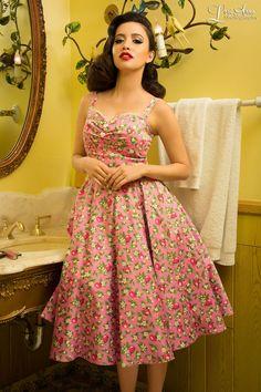 Pinup Couture - Nancy Dress in Pink Lemonade Print | Pinup Girl Clothing