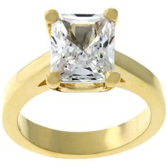 Kate Bissett Gold-Tone Emerald-Cut Cubic Zirconia Solitaire Ring