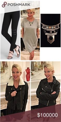 The perfect outfit! All available! Zipper detail Heather gray asymmetrical dress- with zipper leggings and unique statement necklace- add a faux leather jacket to finish the look! Collar is removable! kfab designs personal styling  Other