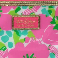 Lilly Pulitzer Cosmetic Bag for Estee Lauder Pink Green Flower 2014 Water Proof #EsteLauder