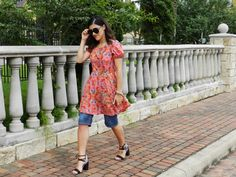 Girly in Red | Kind Distinction http://www.kinddistinction.com/girly-in-red/ #fashion #style #bloggers #fashionblog #red #summerlook #summer #printdress #chic