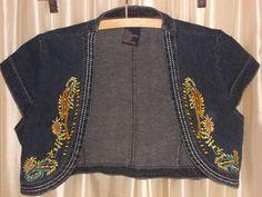 Embroidery blue denim shrug jacket LARGE jeans-style bolero 100% cotton JAZZIE #Jazzie #BoleroShrug #Casual