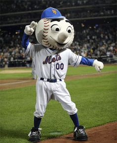 Mr. Met, mascot of the New York Mets. Only my husband's favorite mascot! I'll take him to a game. Someday.