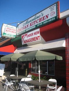 Marcelino's Italian Kitchen storefront and outdoor seating.