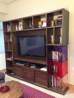 Muebles para tv modernos mueble tv moderno en madera for Libreros modernos