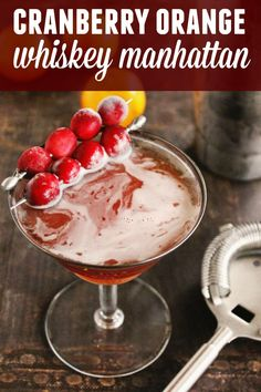 A fall flavored twist on a classic whiskey manhattan. Snowball Cocktail Recipe, Cubed Beef Recipes, Manhattan Recipe, Cocktail Maker, Fall Cocktails, Winter Drinks, Holiday Drinks, Manhattan Cocktail, Cranberry Cocktail