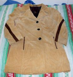 Vintage Corduroy With Suede Jacket Womens 3/4 Length The Hecht Company Size 10  #TheHeichtCompany