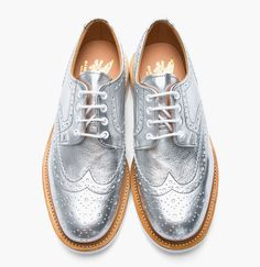 mark mcnairy metallic-silver leather brogue shoes.