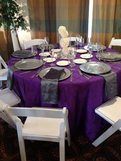 purple and silver linen set up